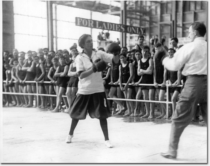 One tough broad boxing inside the Sutro Baths, c. 1910.